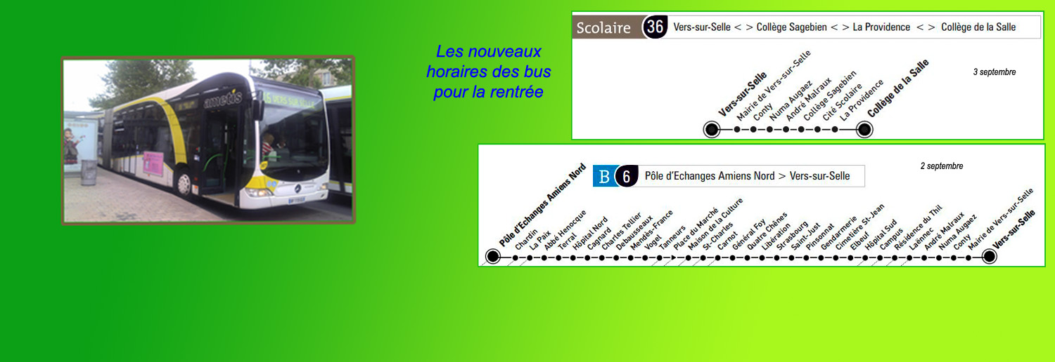 bus les horaires des lignes b6 et s36 pour la rentr e. Black Bedroom Furniture Sets. Home Design Ideas